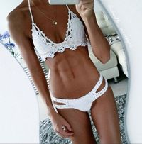Crochet Bikini Wanderer - Cowrie Shell Crochet swimsuit - Crochet Lace Swimwear