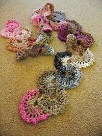 "weaverknits: an extension of a ""crochet fan bookmark"" pattern (which is a working link in the article), using size K crochet hook and one skein of Noro yarn. Gorgeous decorative scarf."