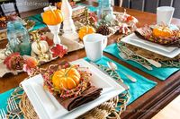 fall table setting - love the pop of turquoise