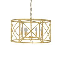 Zia Gold Leaf Bamboo Chandelier by Worlds Away $888.00