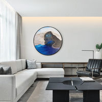 Gold and blue art Circular painting framed wall art sea wave paintings on canvas Original Abstract painting textured art Ymipainting $609.00