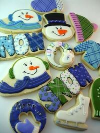 """Winter snowman, """"SNOW"""", ice skates, & more decorated sugar cookies from Cookie Crazie repostned By:#TheCookieCutterCompany"""