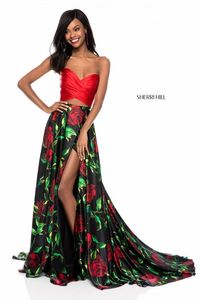 CHEAP SHERRI HILL SPRING 51937 RED/BLACK FORMAL TWO PIECE PRINT EVENING GOWN