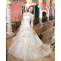 Charming A-line High Neck Long Sleeve Lace Hand Made Flowers Sweep/Brush Train Organza Wedding Dresses - Dressesular.com