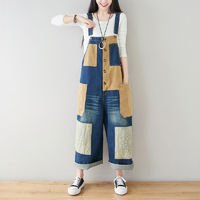 Spring dark blue patchwork denim overalls, plus size loose literary patch wide-leg pants