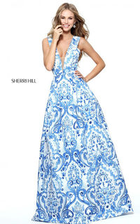 Sherri Hill 51014 Blue Print V Neck Long Prom Dress