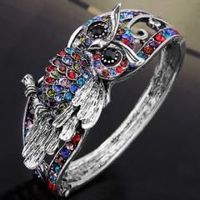 Tibet Silver Multicolor Crystal Vintage Bangle Bracelet