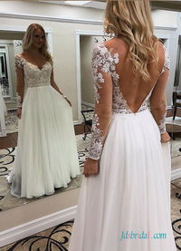 H0553 Sexy flowy chiffon summer wedding dress with sleeves Model: H0553(Worldwide Free shipping)