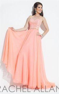 Rachel Allan 2863 Soft Coral Halter Neck Beaded Prom Dresses