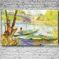 Hand Painted Reproduction Fishing In The Spring By Van Gogh