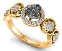 2 Tone 18K gold Flower Ring Promise Ring Unique Engagement Ring with Side Diamonds Floral ring Birthday Gift For Her $975.00