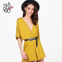 Sexy Simple Ruffle Curvy Low Cut 1/2 Sleeves One Color Summer Jumpsuit - Bonny YZOZO Boutique Store
