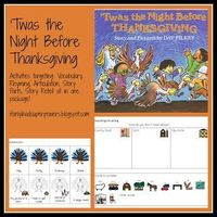 Twas the Night Before Thanksgiving: Free activities to go with the book for speech therapy!