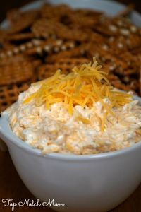 Beer Dip - 2 cream cheese, 1/3 c beer, Ranch Dressing mix, 2 c shredded cheddar. Serve with pretzels