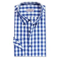 Create a stylish look with this Oxford Men Blue check formal dress shirt. Woven in Egyptian cotton this formal shirt has a fine finish.  �€� 100% Superfine Egyptian Cotton  �€� Classic collar  �€� French cuff  �€� Oxfor...