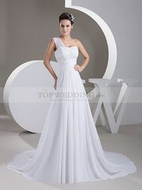DRAPED ONE SHOULDER A LINE CHIFFON BRIDAL DRESS