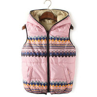 POLKA DOTS TRIBAL PATTERNS SLEEVELESS DOWN JACKET HOODED VEST COAT