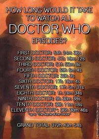 How long would it take to watch all Doctor Who shows