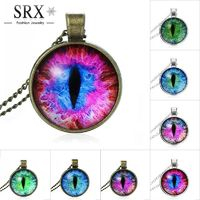 Vintage Jewelry Wholesale Blue Green Cat Eye Necklace Pendant Fashion Charming Rhinestone Ethnic Necklace for Men Women $7.99