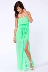 Cute Maxi Dress -Green Strapless Dress