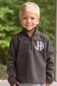 Fall is in the air and this Southern Tots classic is perfect! Our boy's charcoal monogrammed fleece are perfect to wear over tops to keep your little warm cozy warm in the fall air. This is a must have basic piece for fall, back to school and the holi...
