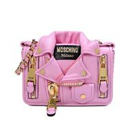 Moschino Biker Jacket Women Small Leather Shoulder Bag Pink