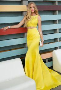 Elegant Two Piece Illusion Lace Rhinestone Top Satin Yellow Trumpet Dress
