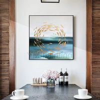 Modern abstract Gold art fish ocean Sea blue paintings on canvas Original art acrylic painting wall pictures home decor cuadro abstracto $99.00