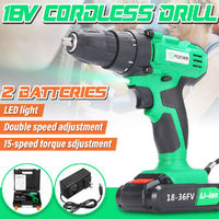 18V Power Drills Dual Speed Cordless Electric Driver Drill LED W/ 2 Li-ion Battery