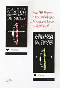 Free Printable Rainbow Loom Valentine at PagingSupermom.com #valentines #rainbowloom