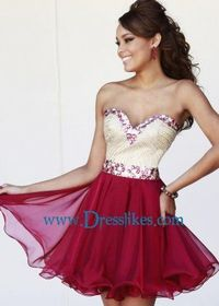 Figure-flattering Red Layered Ruffle Jeweled Party Dresses