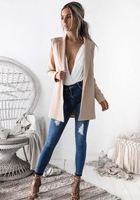 Solid Color Casual Long Sleeve Outwear Coat $36.99