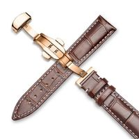 Genuine Leather Watch Band Alligator Grain 18mm 19mm 20mm 21mm 22mm 24mm Calf Strap for Tissot Seiko Brown White Gold $55.99