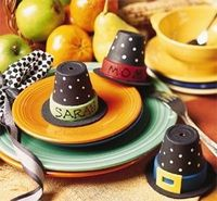 Thanksgiving hats from small flower pots for placecards