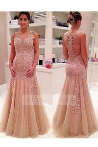 Queen Anne Neckline Champagne Mermaid Tulle Sheer Back Formal Evening Dress