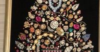 Perhaps you have seen one of these at a craft show, but it was too costly. You can make your own Christmas tree wall hanging, using your old costume jewelry or