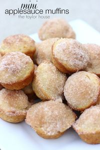 Cinnamon Sugar Muffins, Applesauce Muffins, Muffins for kids, Kids recipes, Easy Kids Muffins