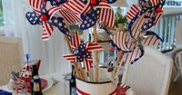 4th of July Table with Pinwheel Centerpiece
