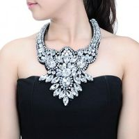 Fashion Pendant Chain Crystal Glass Chunky Choker Statement Bib Necklace Jewelry