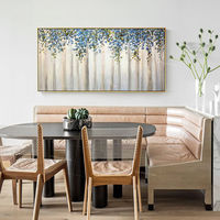 Framed painting Modern wall art abstract flower blue and green tree Paintings on canvas art extra Large Wall Pictures $129.00