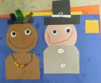 Native American & Pilgrim Craft Poem Little Pilgrim dressed in gray On that first Thanksgiving Day Little Indian dressed in brown Came to visit Plymouth Town Side by side they ate and prayed On that first Thanksgiving Day
