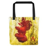 Red Splash on Yellow Tote bag $25.00