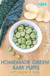 Green homemade baby puffs with apple and kale: gluten free + dairy free + refined sugar free. Baby puffs are a super baby snack idea, they simply melt in your baby's mouth. The homemade version is sooo simple to make that you will be surprised!! Als...