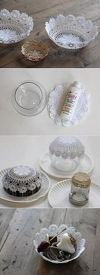 lace bowls.. on tables maybe for snacks while guests are waiting for bride and groom