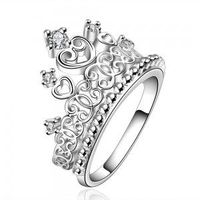 New Crown Fashion Jewelry Women Ring Zircon 925 Sterling Silver Plated Size 7, 8
