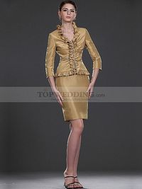 Three Quarter Sleeved Draped Ruffle Bodice with Sheath Short Mother of the Bride Dress
