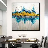 Framed wall art Abstract acrylic painting on canvas original yellow and blue painting huge size Wall Pictures Home Decor cuadros abstractos $104.75