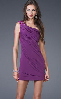 One-Shoulder Short Asymmetrical Beaded Purple Homecoming Dress