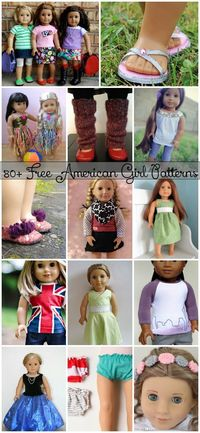 80+ Free American Girl 18�€� Doll Patterns - create clothes for your dolls for less, from old clothes or scrap fabric!