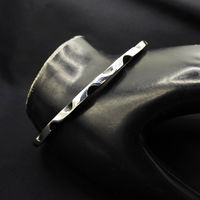 Sterling Silver Modernist Bangle Bracelet Two tone Silver & Black, Signed RMT 925 with Eagle 3 Mexican Taxco Silver Vintage Pre 1960s $145.00